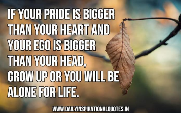 If your pride is bigger than your heart and your ego is bigger than your head, grow up or you will be alone for life. ~ Anonymous