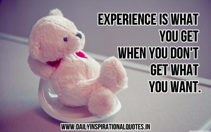Experience is what you get when you don't get what you want. ~ Anonymous