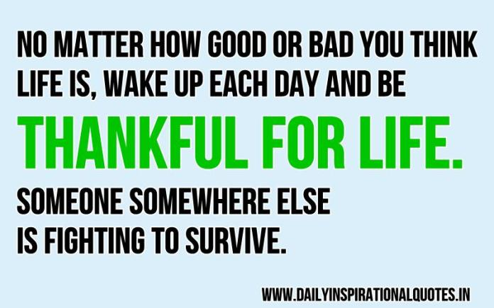 No matter how good or bad you think life is, wake up each day and be thankful for life. someone somewhere else is fighting to survive. ~ Anonymous