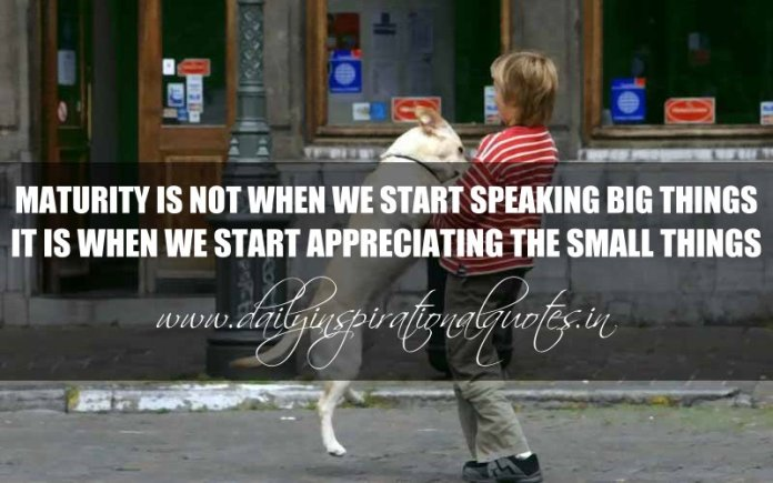 Maturity is not when we start speaking big things. It is when we start appreciating the small things. ~ Anonymous