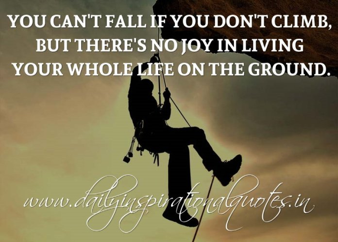 You can't fall if you don't climb, but there's no joy in living your whole life on the ground. ~ Anonymous