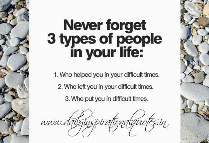 Never forget 3 types of people in your life: 1. Who helped you in your difficult times. 2. Who left you in your difficult times. 3. Who put you in difficult times.