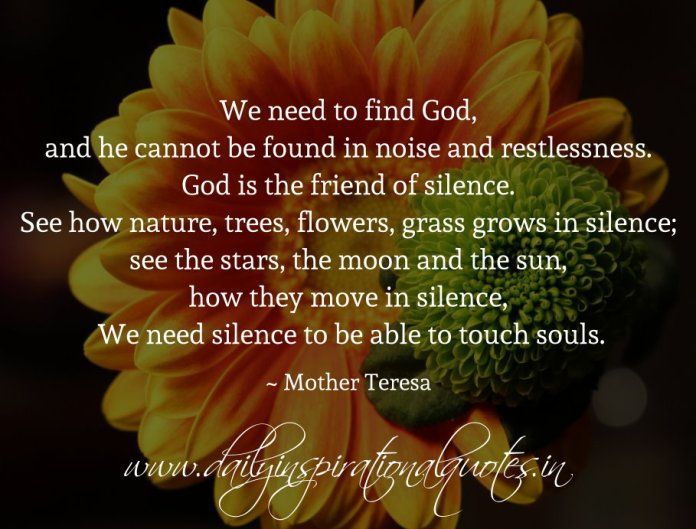 We need to find God, and he cannot be found in noise and restlessness. God is the friend of silence. See how nature, trees, flowers, grass grows in silence; see the stars, the moon and the sun, how they move in silence, We need silence to be able to touch souls. ~ Mother Teresa
