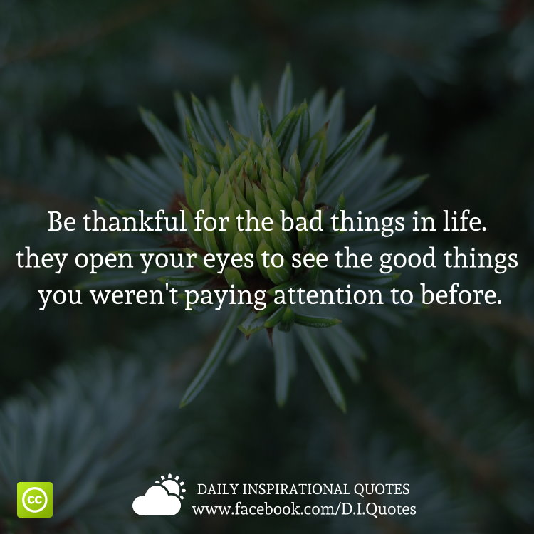 When Things Look Bad Quotes: Be Thankful For The Bad Things In Life. They Open Your