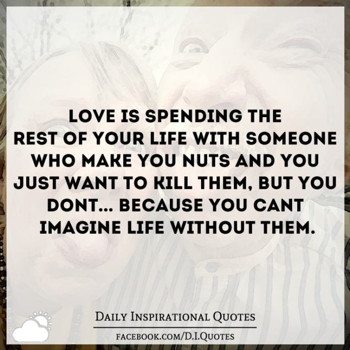 Love is spending the rest of your life with someone who make you nuts and you just want to kill them, but you don't... because you can't imagine life without them.