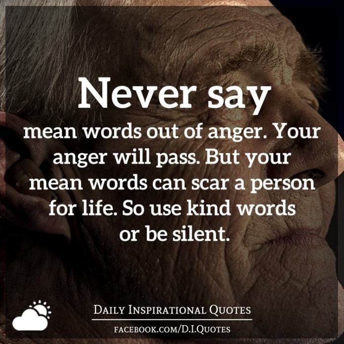 Never say mean words out of anger. Your anger will pass. But ...