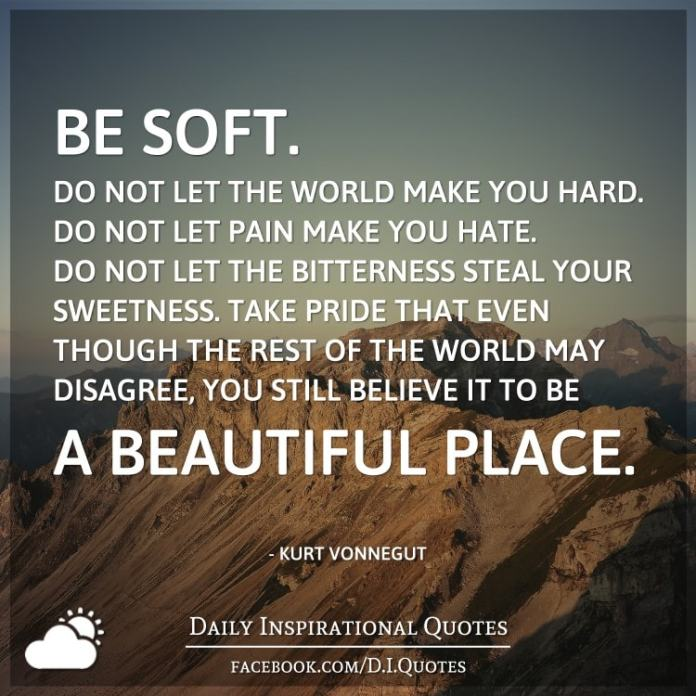 Be Soft Do Not Let The World Make You Hard Do Not Let Pain Make You