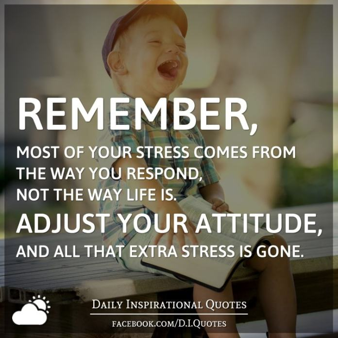 Remember, most of your stress comes from the way you respond, not the way life is. Adjust your attitude, and all that extra stress is gone.