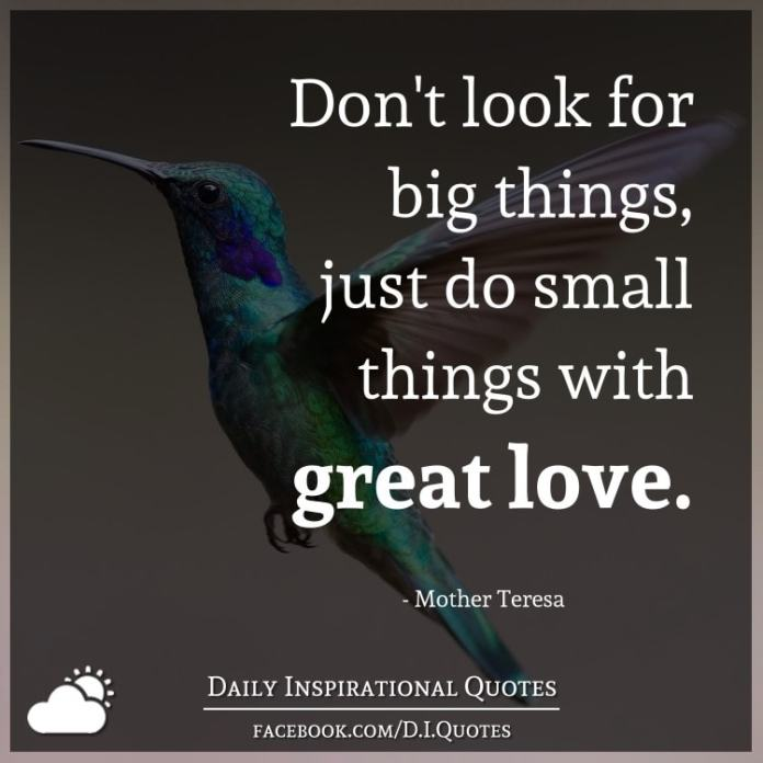 Don't look for big things, just do small things with great love. - Mother Teresa