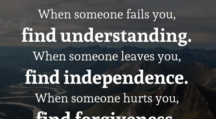 When someone fails you, find understanding. When someone leaves you, find independence. When someone hurts you, find forgiveness. When someone cares for you, count your blessings. – Brigitte Nicole