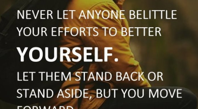 Never let anyone belittle your efforts to better yourself. Let them stand back or stand aside, but you move forward no matter who tries to stop you. - Toni Sorenson