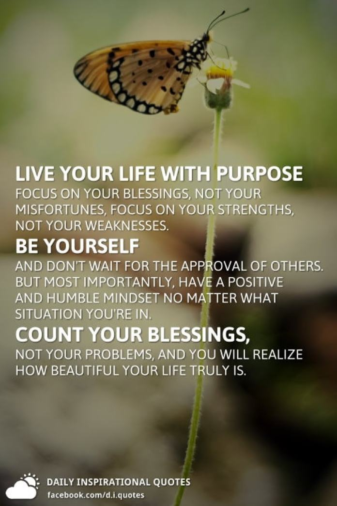 Live your life with Purpose focus on your blessings, not your misfortunes, focus on your strengths, not your weaknesses. Be yourself and don't wait for the approval of others. But most importantly, have a positive and humble mindset no matter what situation you're in. Count your blessings, not your Problems, and you will realize how beautiful your Life truly is.