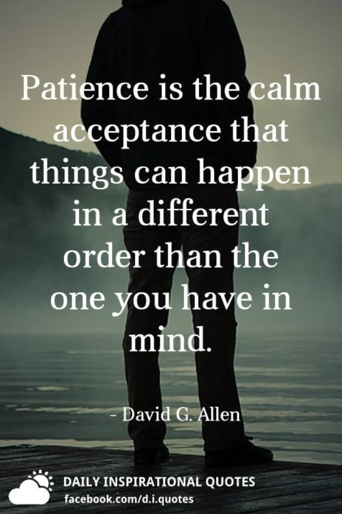 Patience is the calm acceptance that things can happen in a different order than the one you have in mind. - David G. Allen