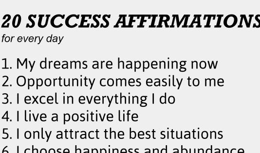 20 positive affirmations for every day to achieve success