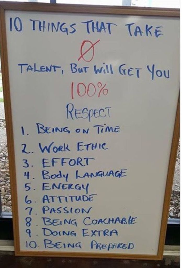 10 things that take 0 talent, but will get you 100% respect: