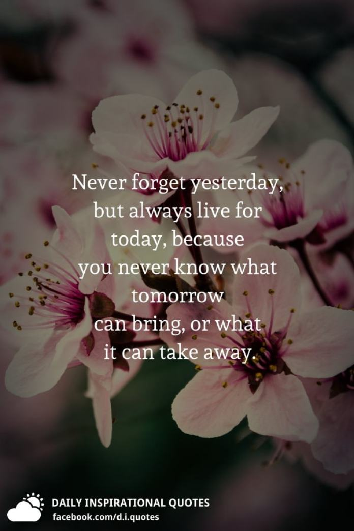 Never forget yesterday, but always live for today, because you never know what tomorrow can bring, or what it can take away.
