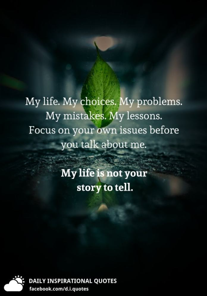 My life. My choices. My problems. My mistakes. My lessons. Focus on your own issues before you talk about me. My life is not your story to tell.