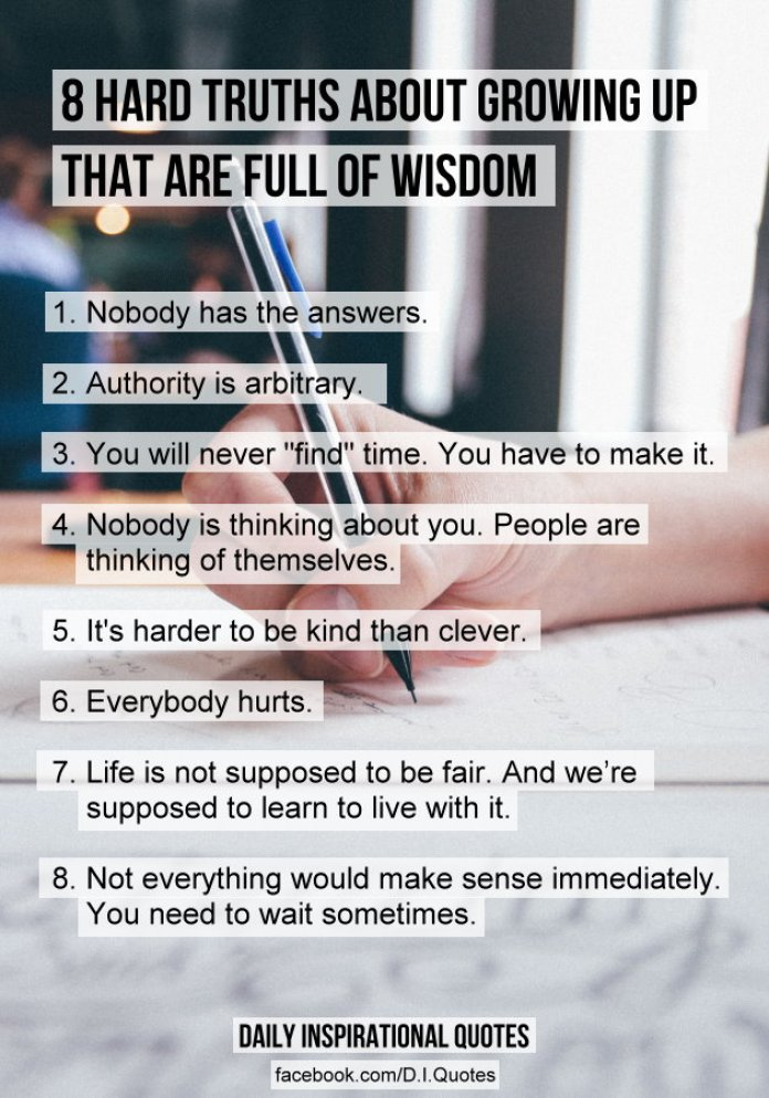 8 Hard Truths About Growing Up That Are Full Of Wisdom