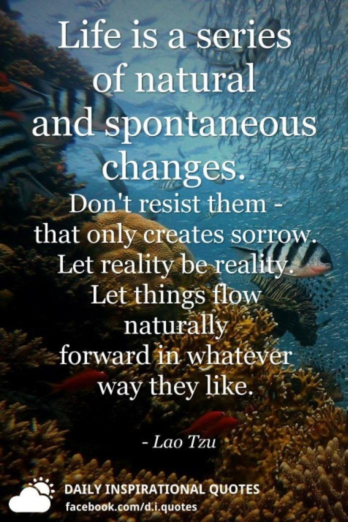 Life is a series of natural and spontaneous changes. Don't resist them - that only creates sorrow. Let reality be reality. Let things flow naturally forward in whatever way they like. - Lao Tzu