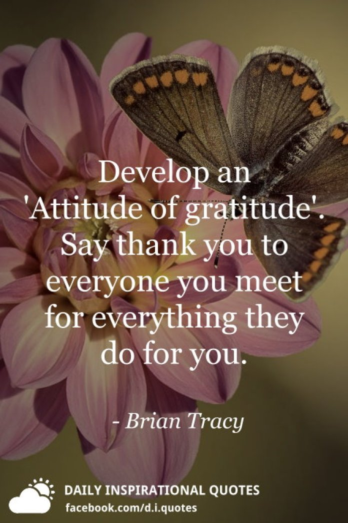 Develop an 'Attitude of gratitude'. Say thank you to everyone you meet for everything they do for you. - Brian Tracy