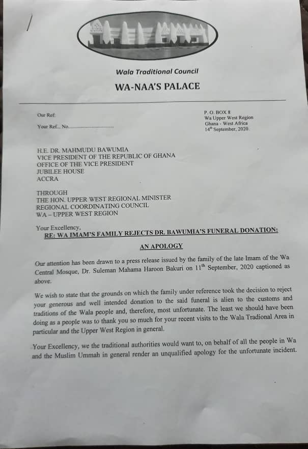 """Wa chiefs apologise to Bawumia for """"alien rejection"""" of funeral donation 1"""