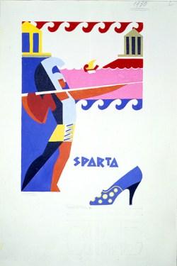 """Lucio Venna, """"Sparta"""". Disegno pubblicitario per Salvatore Ferragamo, 1930, pochoir su carta. Firenze, Museo Salvatore Ferragamo."""