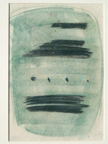 Lucio Fontana Progetto grafico del tessuto per lo schienale della poltrona P40. Concetto spaziale, 1957 pastello a olio nei toni del verde e del nero su carta Busto Arsizio (Varese), Collezione Branchini-Grampa