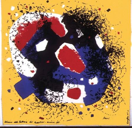 Edmondo Bacci Avvenimento fondo giallo, 1961 Foulard in seta prodotto da Edizioni del Cavallino Venezia, Collezione Cardazzo