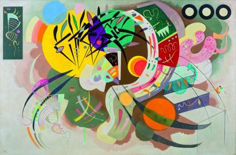Curva dominante (Courbe dominante) Vasily Kandinsky (Mosca 1866-Neuilly-sur-Seine 1944), aprile 1936, olio su tela cm 129,2 x 194,3. New York, Museo Solomon R. Guggenheim. Solomon R. Guggenheim Founding Collection, 45.989. Foto di Kristopher McKa