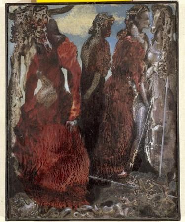 """""""L'antipapa"""" (''The Antipope""""). Max Ernst (Brühl 1891-Parigi 1976), 1941 circa, olio su cartoncino montato su tavola, cm 32,5 x 26,5. Venezia, Collezione Peggy Guggenheim, 76.2553. Foto di Carmelo Guadagno © Max Ernst, by SIAE 2016."""