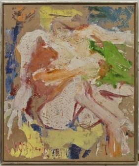 Nudo-Donna sulla spiaggia. Willem de Kooning (Rotterdam 1904-East Hampton 1997), 1963, olio su carta, montata su tela, cm 81,3 x 67,3, Venezia, Fondazione Solomon R. Guggenheim, Collezione Hannelore B. e Rudolph B. Schulhof, lascito Hannelore B. Schulhof, 2012, 2012.44. Foto diDavid Heald © The Willem de Kooning Foundation, by SIAE 2016