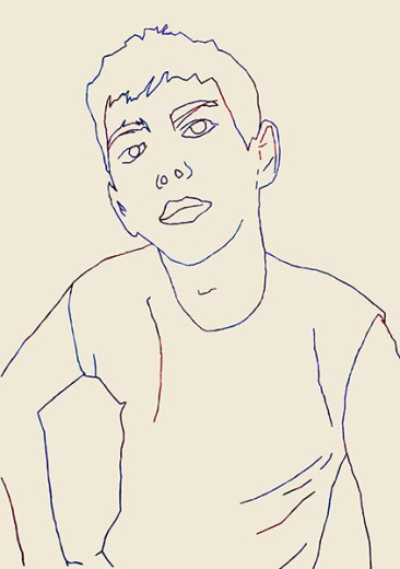 Boy, 2015 – 2016 Ricamo su carta, filo colorato formato 21×29 cm