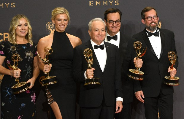 "Lorne Michaels and ""Saturday Night Live"" won the Emmy award for Outstanding Variety Sketch Series at the 69th Emmy Awards on Sunday, Sept. 17, 2017 at the Microsoft Theater in Los Angeles, California. (Photo by Michael Owen Baker / SCNG)"