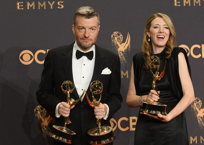 """Charlie Brooker won the Emmy award for Outstanding Writing for a Limited Series, Movie or a Dramatic Special for """"Black Mirror"""" at the 69th Emmy Awards on Sunday, Sept. 17, 2017 at the Microsoft Theater in Los Angeles, California. (Photo by Michael Owen Baker / SCNG)"""