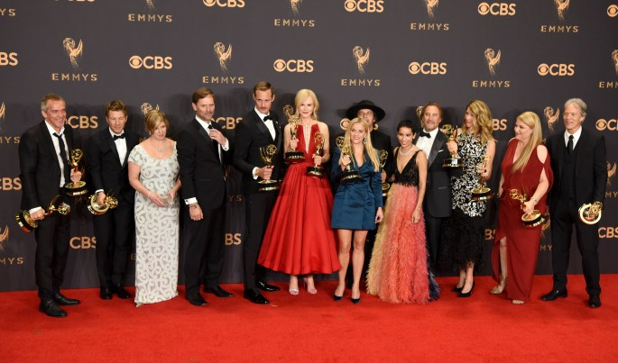 """The cast and crew of """"Big Little Lies"""" won the Emmy award for Outstanding Limited Series at the 69th Emmy Awards on Sunday, Sept. 17, 2017 at the Microsoft Theater in Los Angeles, California. (Photo by Michael Owen Baker / SCNG)"""