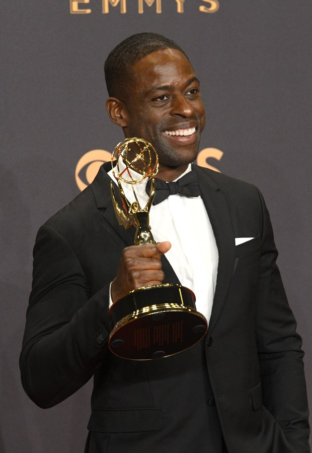 "Sterling K. Brown won the Emmy award for Outstanding Lead Actor in a Drama Series for his role on ""This Is Us"" at the 69th Emmy Awards on Sunday, Sept. 17, 2017 at the Microsoft Theater in Los Angeles, California. (Photo by Michael Owen Baker / SCNG)"