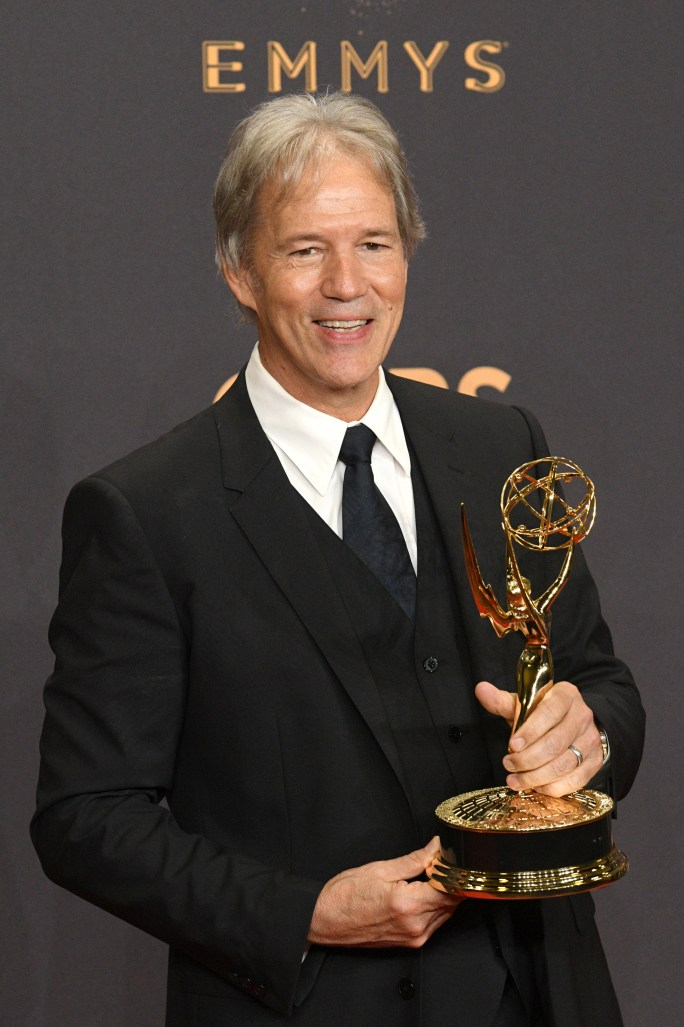 """David E. Kelley won the Emmy award for Outstanding Limited Series, Movie or a Dramatic Special for """"Big Little Lies"""" at the 69th Emmy Awards on Sunday, Sept. 17, 2017 at the Microsoft Theater in Los Angeles, California. (Photo by Michael Owen Baker / SCNG)"""
