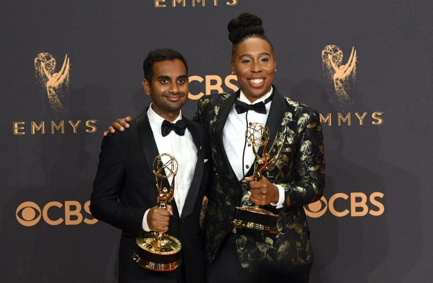 "Aziz Ansari and Lena Waithe won the Emmy award for Outstanding Writing for a Comedy Series for an episode of ""Master of None"" at the 69th Emmy Awards on Sunday, Sept. 17, 2017 at the Microsoft Theater in Los Angeles, California. (Photo by Michael Owen Baker / SCNG)"