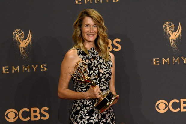 "Laura Dern won the Emmy award for Outstanding Supporting Actress in a Limited Series or Movie for her role on ""Big Little Lies"" at the 69th Emmy Awards on Sunday, Sept. 17, 2017 at the Microsoft Theater in Los Angeles, California. (Photo by Michael Owen Baker / SCNG)"