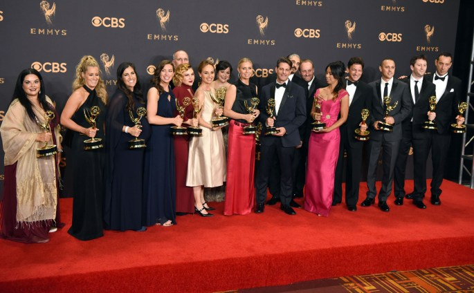 """The cast and crew of """"The Voice"""" won the Emmy award for Outstanding Outstanding Reality Competition Series at the 69th Emmy Awards on Sunday, Sept. 17, 2017 at the Microsoft Theater in Los Angeles, California. (Photo by Michael Owen Baker / SCNG)"""
