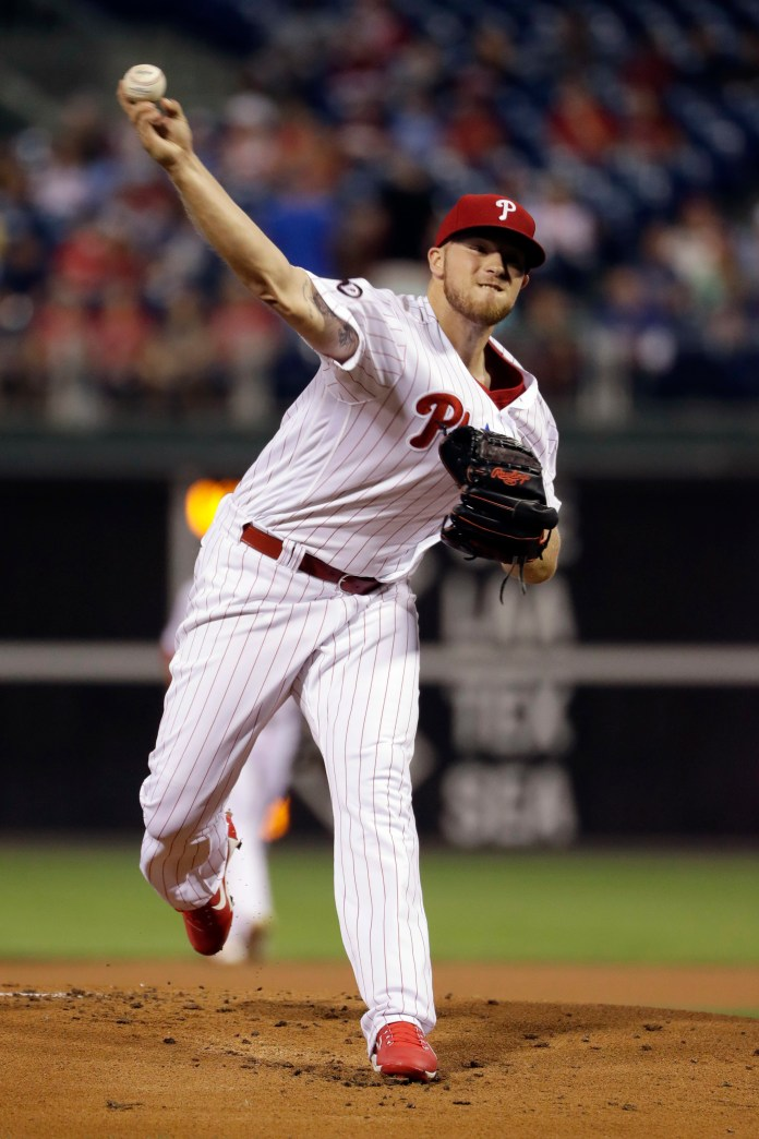 Philadelphia Phillies' Jake Thompson pitches during the first inning of a baseball game against the Los Angeles Dodgers, Wednesday, Sept. 20, 2017, in Philadelphia. (AP Photo/Matt Slocum)