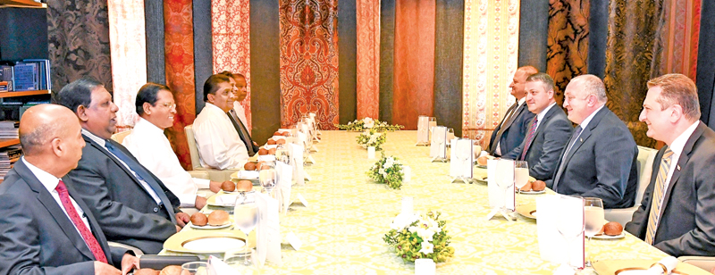 President Maithripala Sirisena and his delegation at the meeting with Georgia President Giorgi Margvelashvili and his delegation. Picture by President's Media.