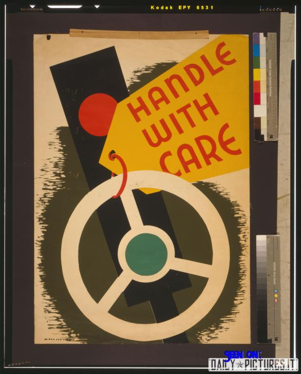 Poster promoting safe driving showing a traffic signal and a steering wheel