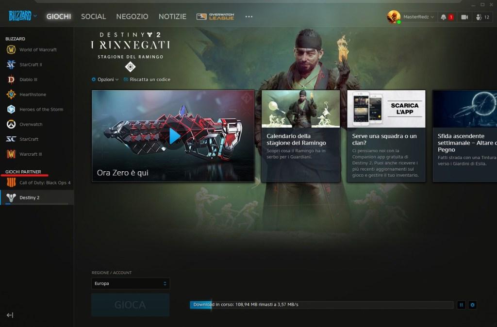 Launcher battle.net con la nuova sezione.