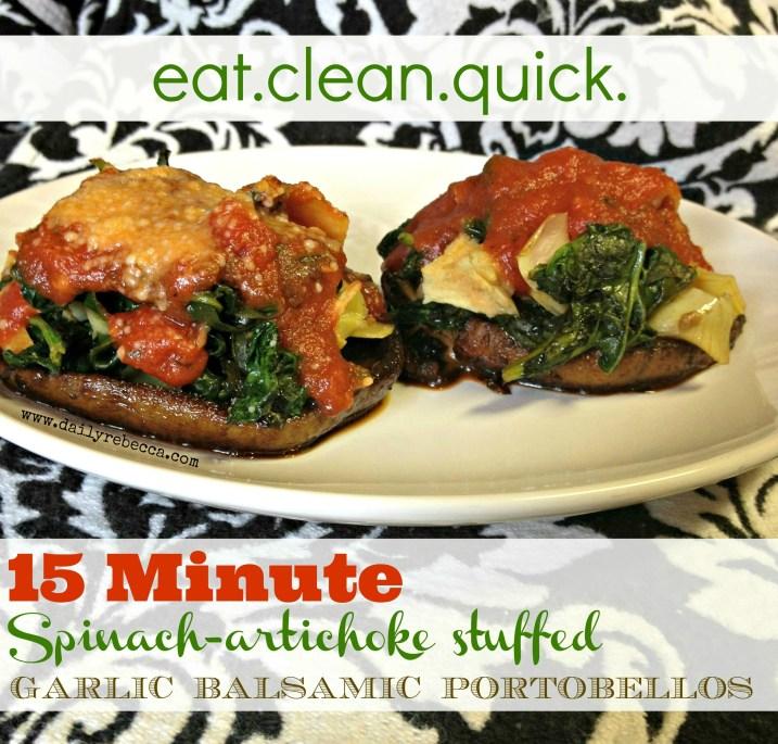 15 Minute Spinach Artichoke Stuffed Garlic Balsamic Portobellos