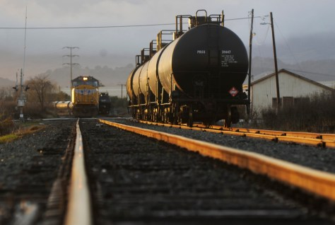 Tank cars sit on the railroad tracks, near Cordelia Road and Chadbourne Road on January 1, 2016. (Robinson Kuntz/Daily Republic file)