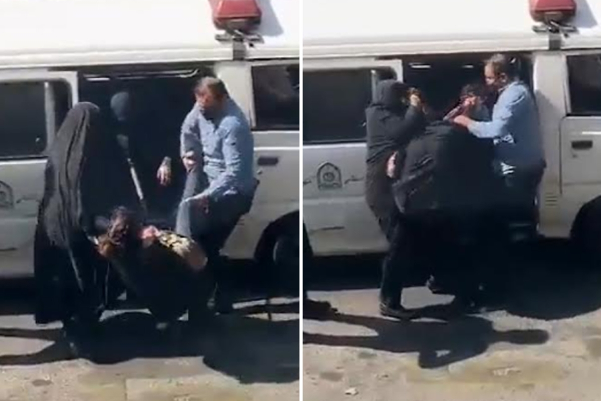 Shocking moment 'morality police' use dog-catcher's pole to haul woman into van 'for failing to wear headscarf' in Iran