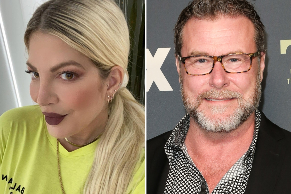 Tori Spelling looks upset outside lawyer's office with papers about 'custody & support' amid Dean McDermott split rumors