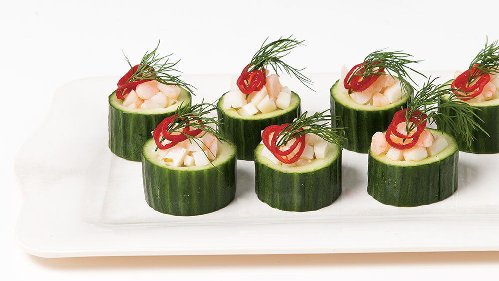 Cucumber bowls with Ceviche