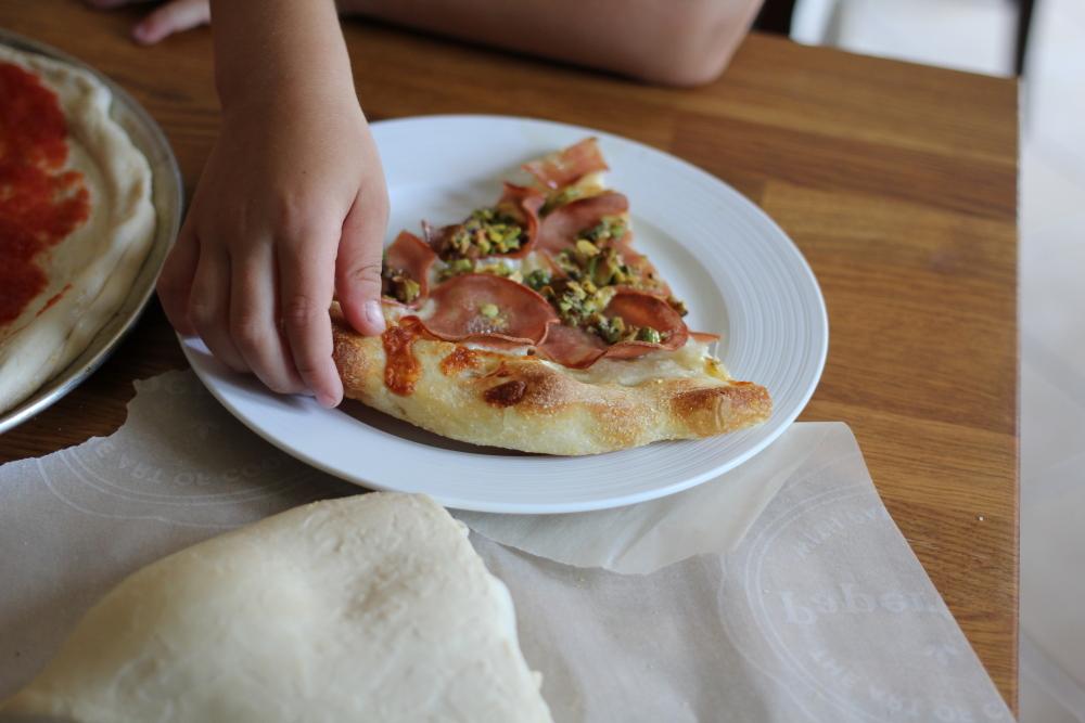 Pizza with Mortadella & Pistachio Pesto www.dailytiramisu.com toronto food blogger